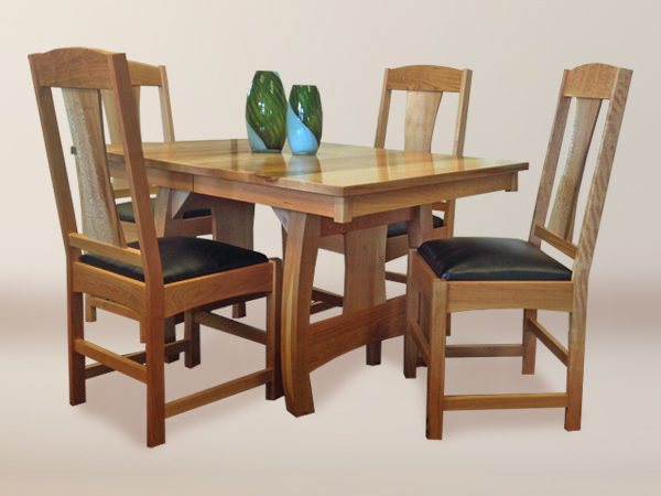 Aurora Style Dining Set With 6 Aurora Flat Back Style Upholstered Chairs