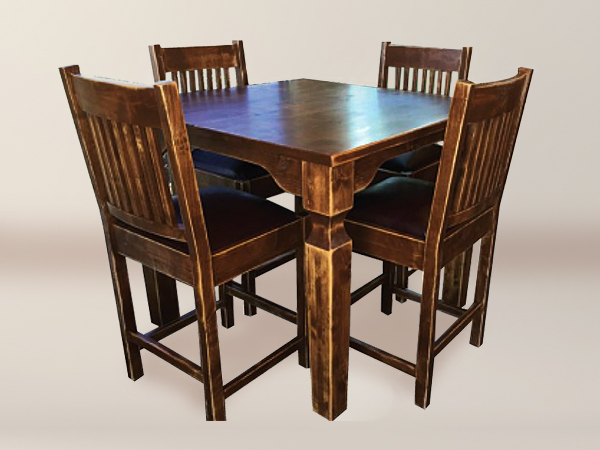 Braeburn Pub Table With Notched Leg Table And Spindle Flat Back Carved Seat  Chairs