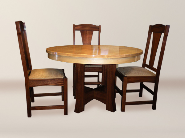 Fuji Round Dining Set With 6 Fuji Greening Style Flat Back Upholstered Chair
