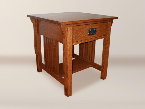 MacIntosh 1 Drawer Spindle Corbel Side Table With Bottom Shelf