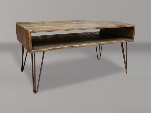 Melrose Open Shelf Coffee Table With Hairpin Legs