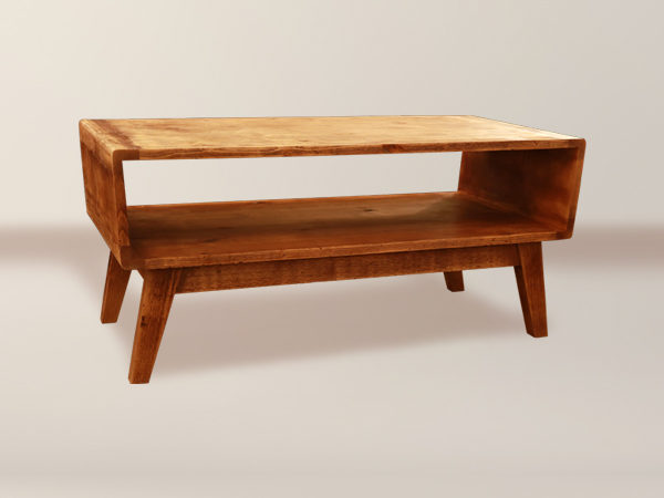Melrose Open Shelf Coffee Table With Wood Legs